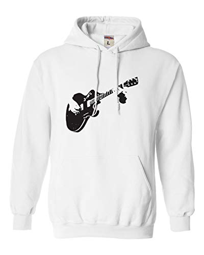 (Go All Out Small White Adult Shadow Guitar Music Lover Sweatshirt Hoodie)