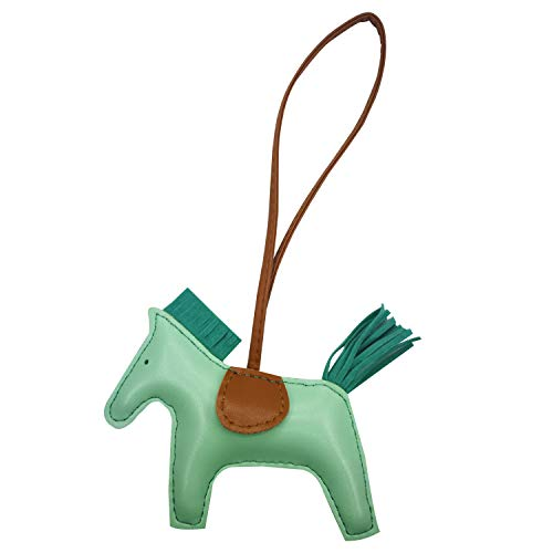 - Bag Charm for Women Purse Charm Horse Leather Keychain Handbag Accessories (Applegreen)