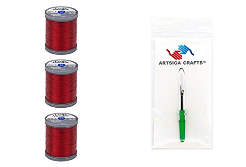 Coats & Clark Metallic Embroidery Thread 125 Yds (3-Pack) Ruby with 1 Artsiga Crafts Seam Ripper S990-9470-3P