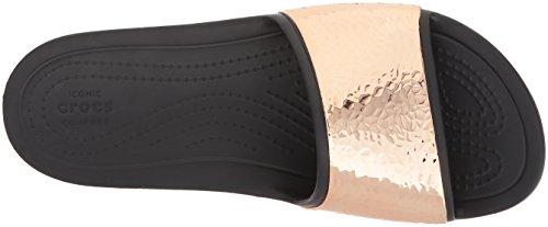 Crocs Womens Sloane Hammered Metallic Slide Black/Rose Gold 0toEHzzOT4