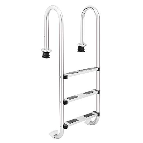 4-Step Swimming Pool Ladder |Entry and Exit System for In-Ground Swimming Pools | Stainless Steel Pool Ladder | Heavy Duty Stainless Steel Steps | Non-slip Footstep | Easy Mount (3-Step Ladder)