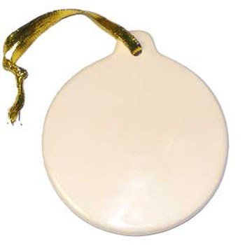 Round Round Ornament Ornament (Darice DIY Crafts Porcelain Ornament Round 3.5 inches  X 6 Pieces  6651-37)