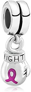 CharmSStory Fight Breast Cancer Awareness Charms Pink Ribbon Boxing Glove Dangle Beads for Bracelets (Fight Breast Cancer) (Style 01)