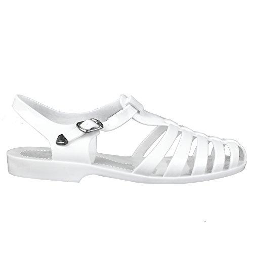 Forever Womens Jedi Summer T-Strap Retro Jelly Rain Flat Sandals,White,7.5]()
