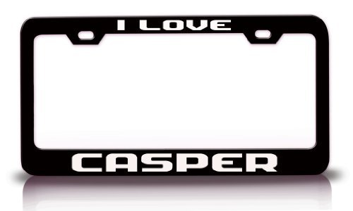 I Love Casper City Cities Metal License Plate Frame Tag Holder Black