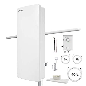 Image of TV Antennas ANTOP Outdoor TV Antenna & FM Amplified Radio Antenna with Dual Outputs Smart Boost System 85 Miles, All in One Support TV and FM Stereo(or Second TV or Any OTA-Ready Streaming Device or Projector)