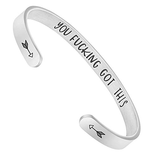 BGAFLOVE Inspirational Gifts Women Cuff Bracelet Bangle Stainless Steel Engraved Jewelry Gifts with Sayings & Words for Women, Teen Girls