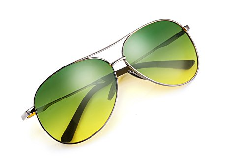 FEISEDY Classic Aviator Sunglasses Pilot Polarized Night Vision Driving Anti Glare Glasses B2294