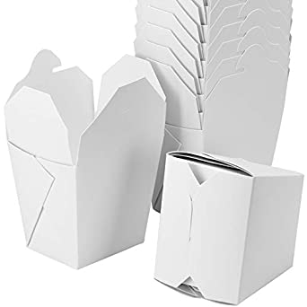 ced05457a6e Microwavable White Chinese 8 oz Mini Take Out Boxes. 50 Pack by Avant Grub.