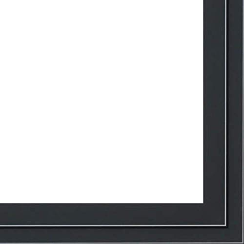 13.5x40 Black Two-Step Wood Frame w/ a Silver Accent - 'Pinstripe' Thin - Great for Posters, Photos, Art Prints, Mirror, Chalk Boards, Cork Boards and Marker Boards by FramingSPORTS