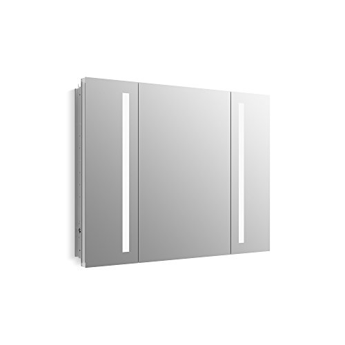 KOHLER K-99011-TL-NA Verdera 40 inch x 30 inch LED Lighted Bathroom Medicine Cabinet, Slow Close Hinge, Internal Magnifying Mirror; Aluminum; Recess or Surface Mount; 3 Doors
