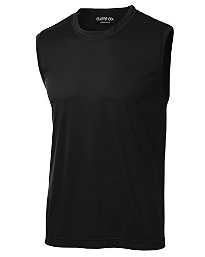 Clothe Co. Mens Sleeveless Moisture Wicking Muscle Shirt, Black, L