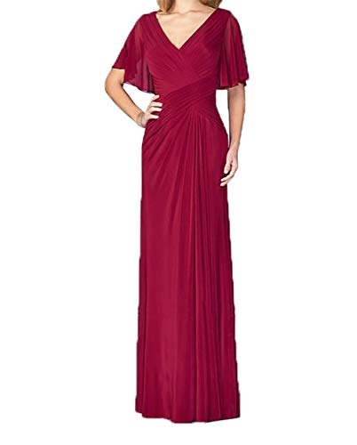 Lang Brautmutterkleider Festlichkleider Kleider Abendkleider Ausschnitt Rot Charmant Jungendweihe Elegant Dunkel V Damen nRWppgAqH
