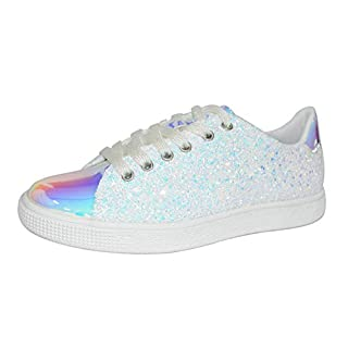LUCKY-STEP Women Flats Glitter Sneakers | Lace Up Closed Sparkle Round Toe Flatform Fashion Sneakers (10 B(M) US, White Hologram)