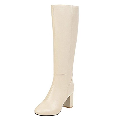 RAZAMAZA Women Knee High Chunky High Heel Dress Boots with Zipper 75 Sm Beige