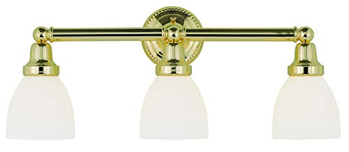 02 Brass Polished Bath - Livex Lighting 1023-02 Classic 3-Light Bath Light, Polished Brass