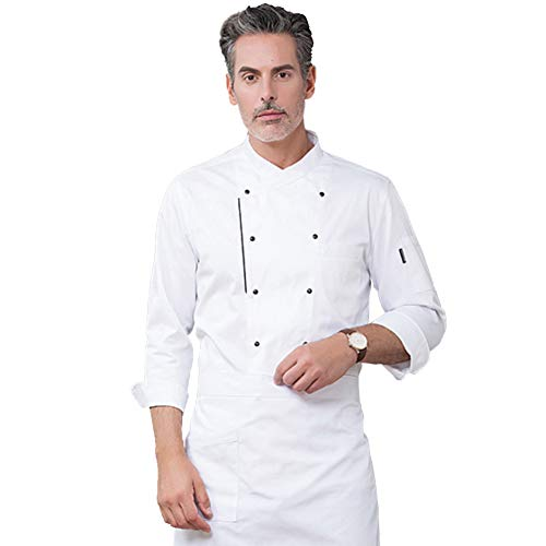 lightclub Double Row Buttons Long Sleeve Chef Costume Restaurant Hotel Kitchen Overalls Cook Chef Costume For Restaurant Hotel Kitchen White XL -
