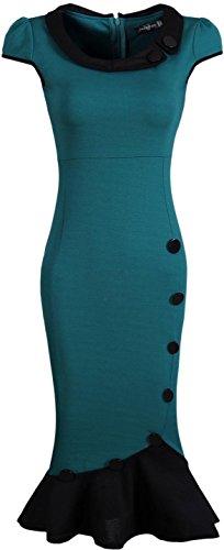 Jeansian Mujer Vestido De Las Tendencia Temperamento Dobladillo Espina De Pescado Women Trend Temperament Fishtail Hem Dress WKD183 DarkGreen