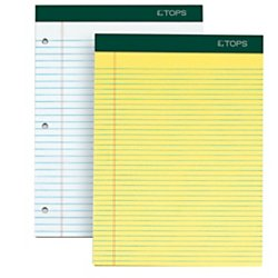 TOPS Docket Writing Pads, 8-1/2'' x 11-3/4'', Perforated, Canary Paper, Narrow Rule, 2x The Sheets Of Standard Pads, 100 Sheets, 6 Pack (63376)