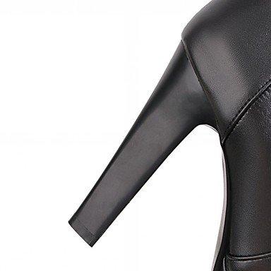 Heart&M Mujer Zapatos Semicuero Primavera Invierno Botas de Moda Botas Tacón Robusto Dedo redondo Botines Hasta el Tobillo Cremallera Para Casual black