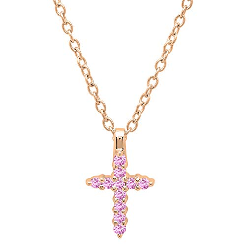 Dazzlingrock Collection 10K Round Pink Sapphire Ladies Cross Pendant (Gold Chain Included), Rose Gold