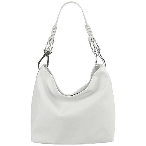 FASH Limited Chic Hobo Handbag Glossy Texture PU Leather Handbag - White (White Leather Tote Bag)