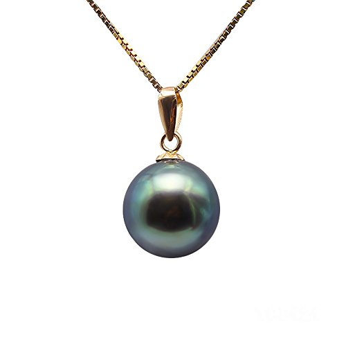 Green Round Sea Pearl South (JYX 14K Yellow Gold Pendant AAA Quality 9-10mm Genuine Peacock green Tahitian South Sea Cultured Pearl Pendant Necklace)