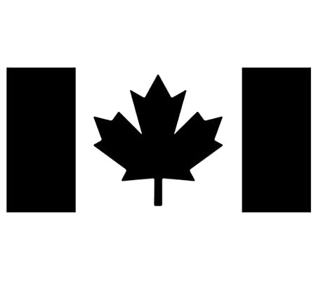 Canadian Flag Decal Sticker - Size:3.0 x 6.2 inches - Color:Black Lucidchaos Graphics