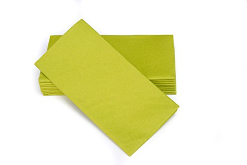 "SimuLinen Dinner Napkins – Disposable, GREEN, Cloth-Like – Elegant, yet Heavy Duty Soft, Absorbent & Durable – 16""x16"" – Box of - Market The Woodlands Square"