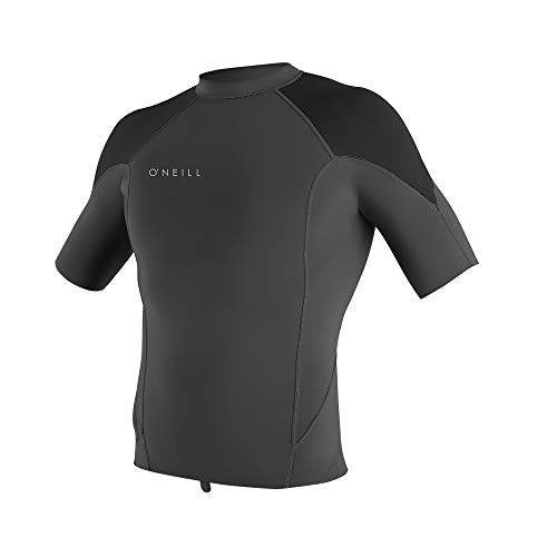 (O'Neill Wetsuits Men's Reactor-2 1.5mm Short Sleeve Top, Graphic/Black/Cool Grey, X-Large)