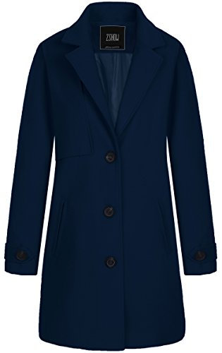 ZSHOW Women's Single Breasted Solid Color Classic Pea Coat Large Navy (Navy Wool Peacoat)