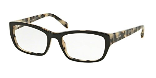 Prada PR18OVA Eyeglass Frames ROK1O1-54 - Top Black/white - Prada Glasses White