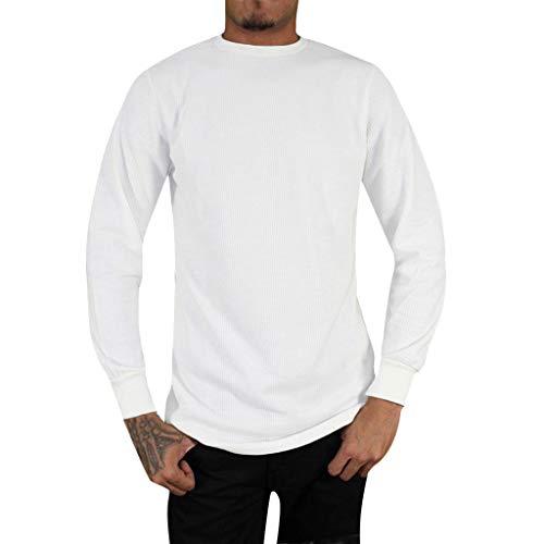Cotton Turtleneck Interlock Print (FEDULK Men's Loose Casual Sweater Stretch Round Neck Long Sleeve Top Blouse Solid Sweatshirt(White, US Size XL = Tag 2XL))