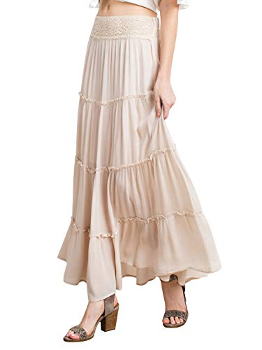 Anna-Kaci Womens Bohemian Gypsy Long Elastic Waist Maxi A-Line Tiered Skirt, Natural, Medium