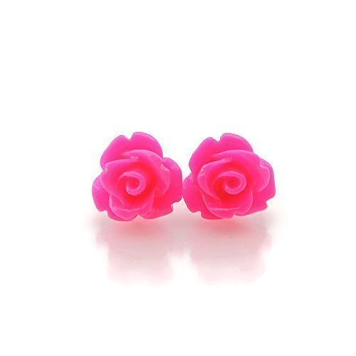 Invisible Clip On 9mm Rose Earrings for Non-pierced Ears Metal Free, Bright Pink