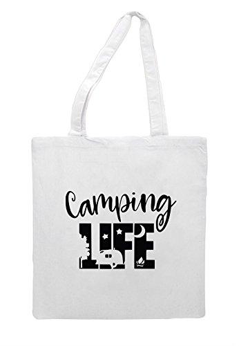 Statement Camping White Tote Campervan Shopper Bag Life EEnwCqfZ1a