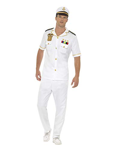 Smiffys Men's Captain Costume, White, Medium