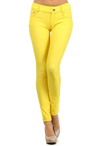 Fashion MIC Womens Pull On Cotton Blend Color Jeggings with Orange Stitching (SM, yellow) -