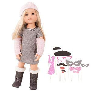 "Gotz Hannah Loves Party 19.5"" All Vinyl Poseable Doll with Long Blonde Hair to Wash & Style, Glitter Dress & Boots and Loads of Costume Accessories from Götz"