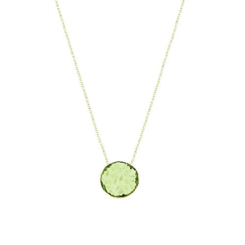 14k Yellow Gold Handmade Necklace With 6mm Round Shape Checkerboard Peridot Solitaire Round Shape Checkerboard