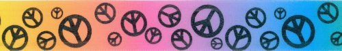 (Offray Scatter Peace Sign Craft Ribbon, 7/8-Inch x 9-Feet, Rainbow)