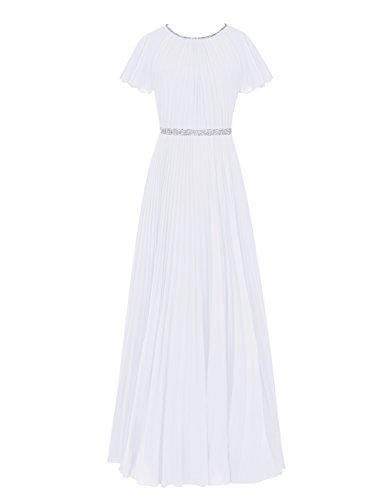 Dresstells®Vestido Mujer De Boda Fiesta Largo De Gasa Con Manga Corta Blanco