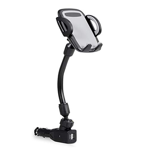 Amoner Car Phone Mount, Upgraded Cigarette Lighter Cell Phone Holder Cradle for Car with Dual USB 2.1A Charger for iPhone X 8 7 6S Samsung Galaxy S10 S9 S8 S7 and Other Smartphones Up to 6 inches (Lighter Phone Cases)