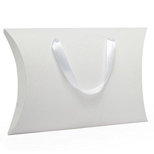 25ea - 9-5/8 X 2-3/4 X 13-3/4 White Pllw Box W/Ribbon Hndl-Pk