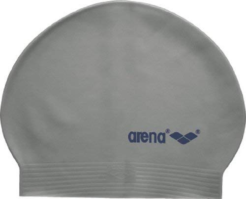 (Arena Soft Latex USA Swim Cap, Silver/Navy)