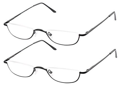 SOOLALA Vintage Designer Alloy Flat Top Half Frame Stylish Slim Reading Glasses, BlackGun, (225 Leather)