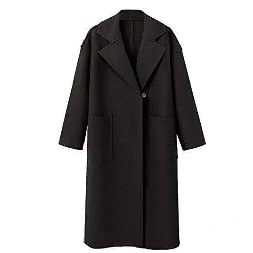 Femmes  manches longues oversize lache en cachemire laine veste cardigan manteau pardessus Noir