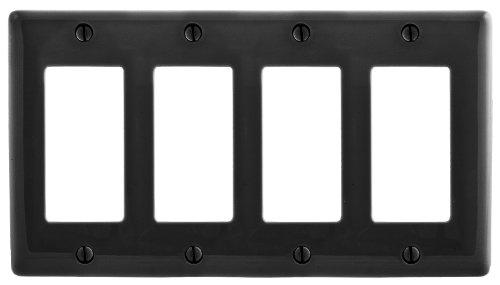Bryant Electric NPJ264BK MPJ264BK Nylon Mid-Sized 2-Gang 2 Decorator/GFCI Wall Plate, Black