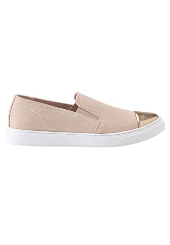 Ellos Womens Wide Faux Suede Slip-on Sneakers Blush Rose Gold Orv9W