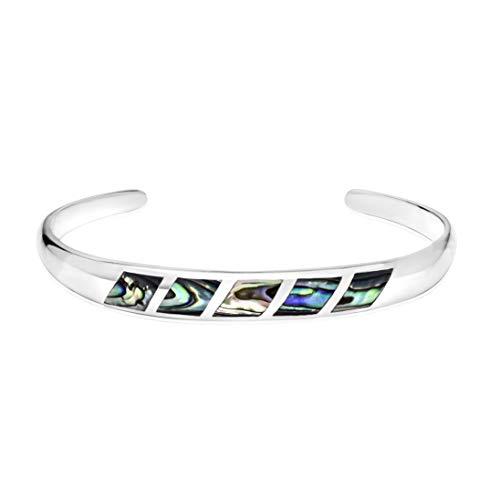 Honolulu Jewelry Company Sterling Silver Abalone Paua Shell Inlay Cuff Bangle Bracelet